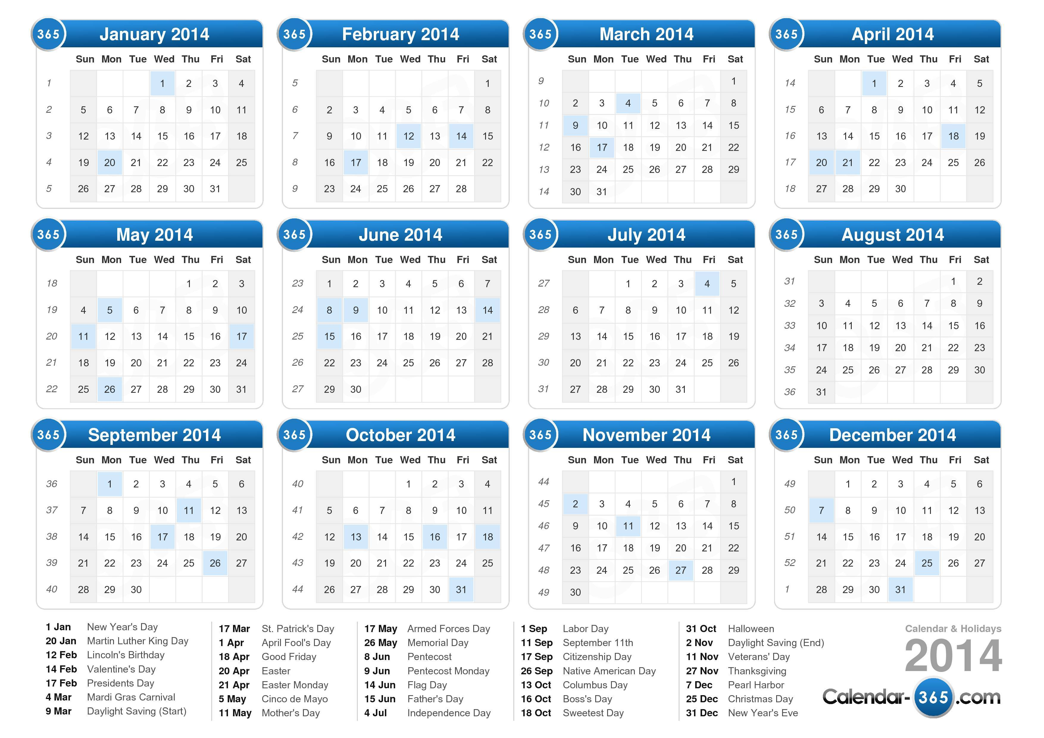 Calendar 2014 — Stock Vector © radub85 #20718439