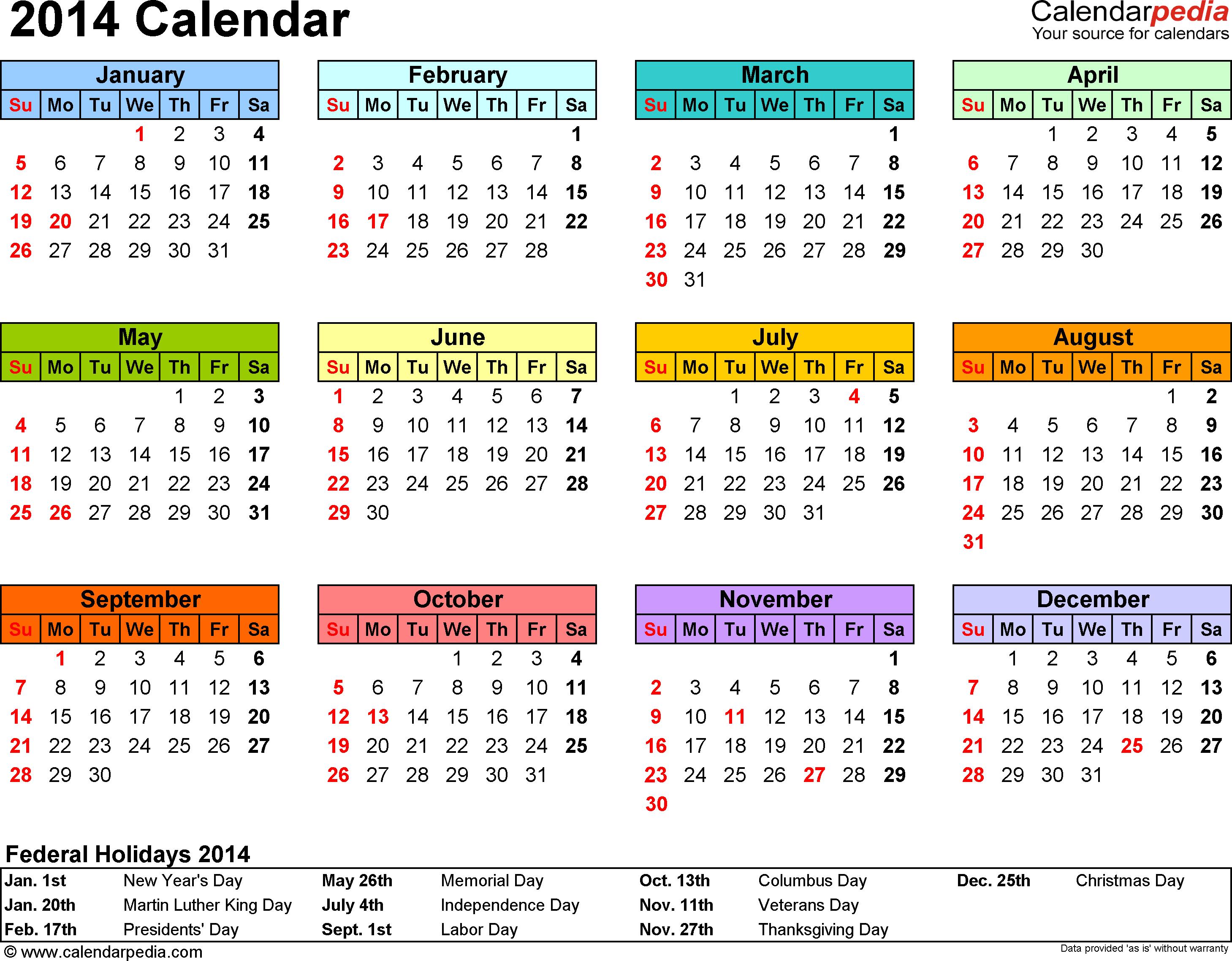 2014 Calendar Excel 13 free printable templates (.xls)