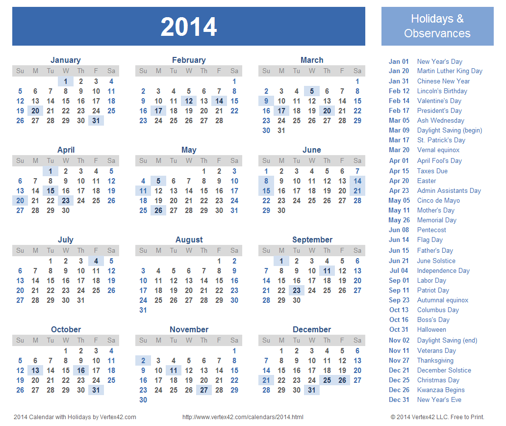 2014 Yearly Calendar Template | doliquid