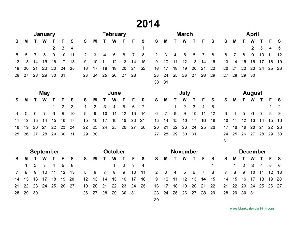2014 Calendar Pdf | yearly calendar printable