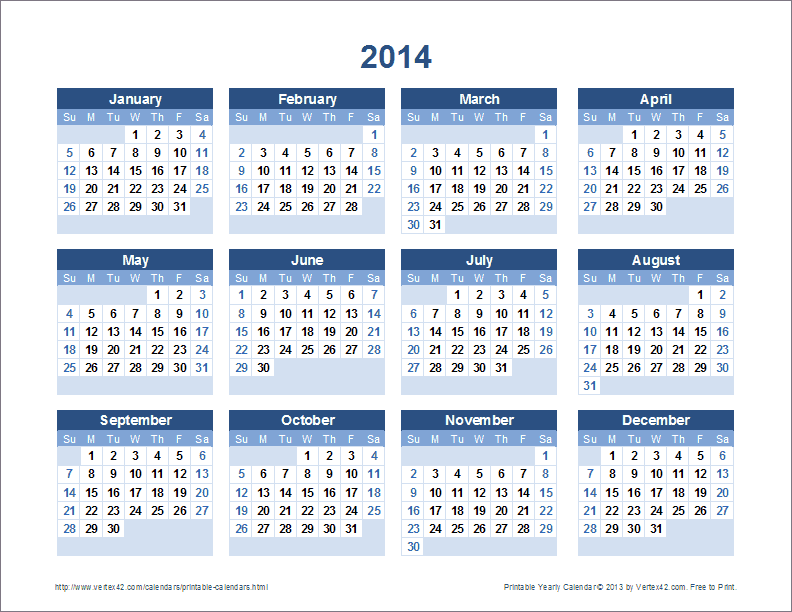 2014 Calendar Printable | 2017 calendar with holidays