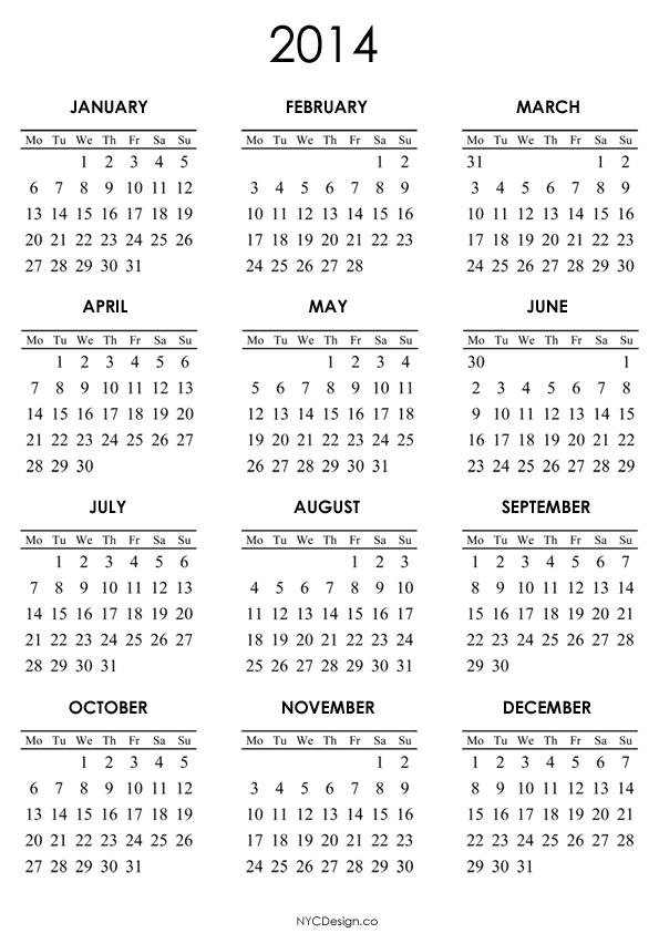 2014 Calendar Printable | yearly calendar printable