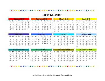 Printable 2014 Colorful Calendar