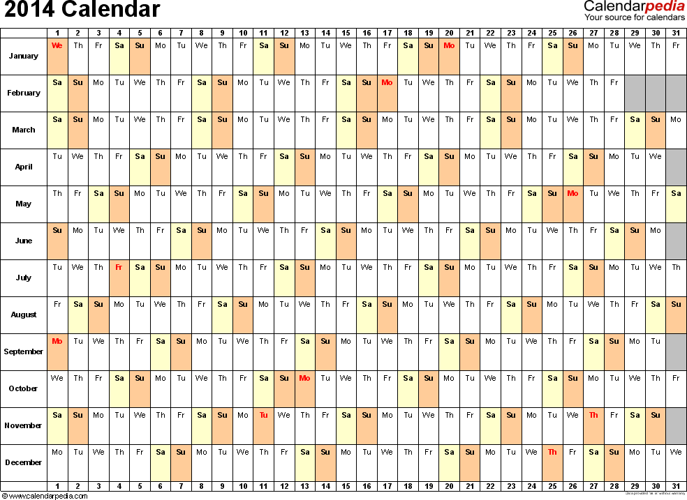 2014 calendar template � templates free printable