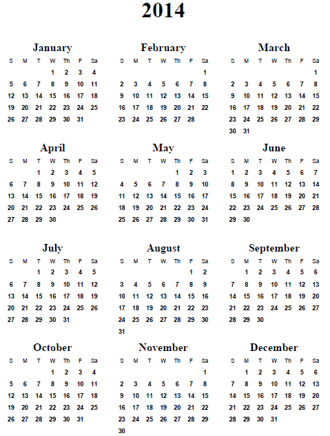 2014 Yearly Calendar | yearly calendar printable