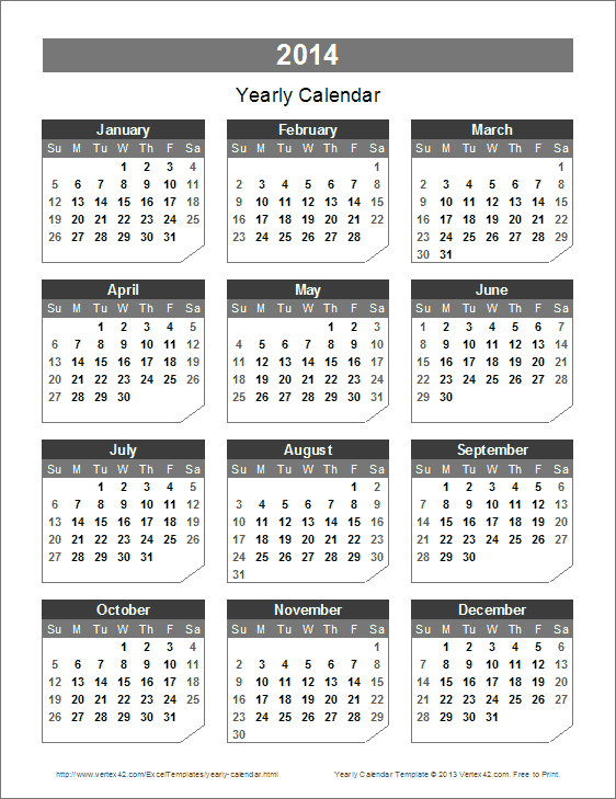 2014 Yearly Calendar Templates Free Printable