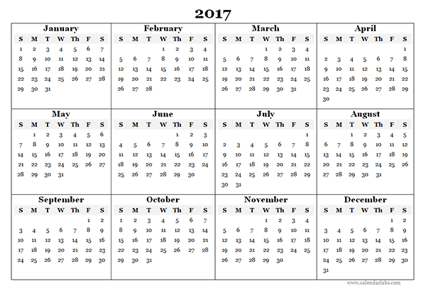 2017 Blank Yearly Calendar Template Free Printable Templates