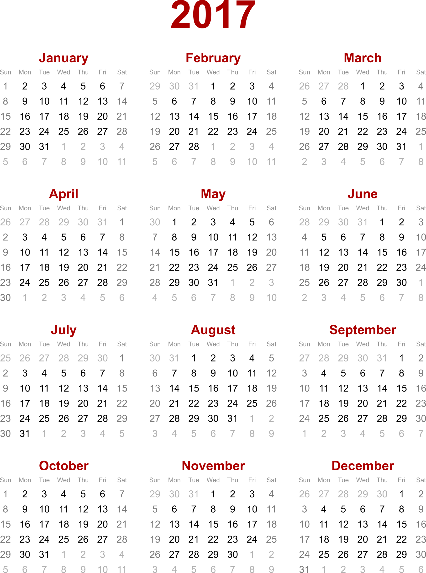 2017 Calendar PNG Transparent Images | PNG All