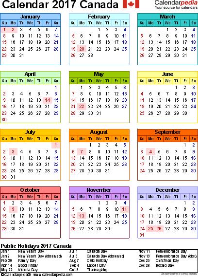 2017 Calendar Canada