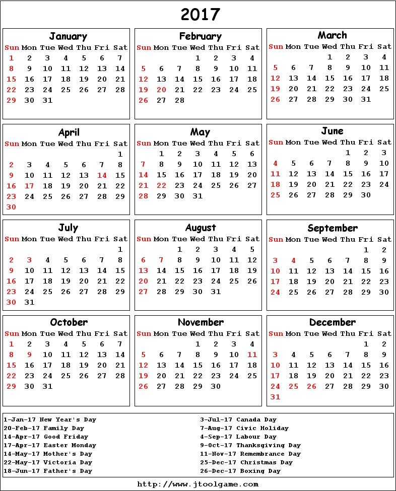 2017 Calendar printable Calendar. 2017 Calendar in multiple