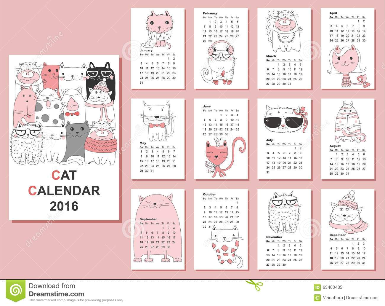 Cat Calendar 2017. Cute Funny Cartoon Character Set. January