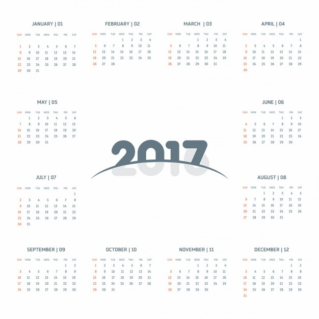 Cute calendar 2017 Vector | Free Download