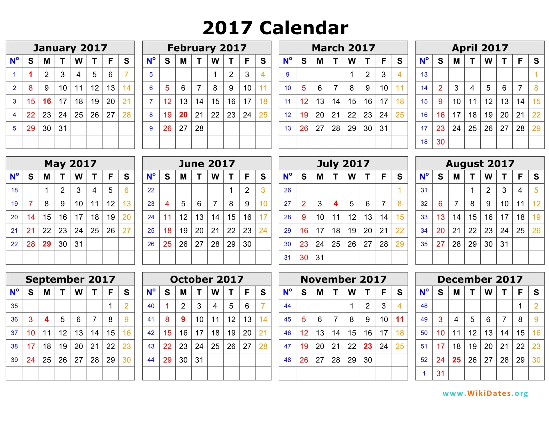 2017 Calendar In Word | 2017 calendar with holidays