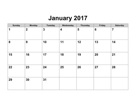 2017 Calendar In Word | yearly calendar template