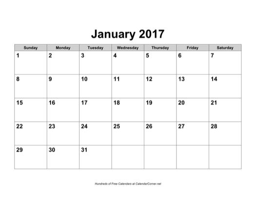 February 2017 calendar for word