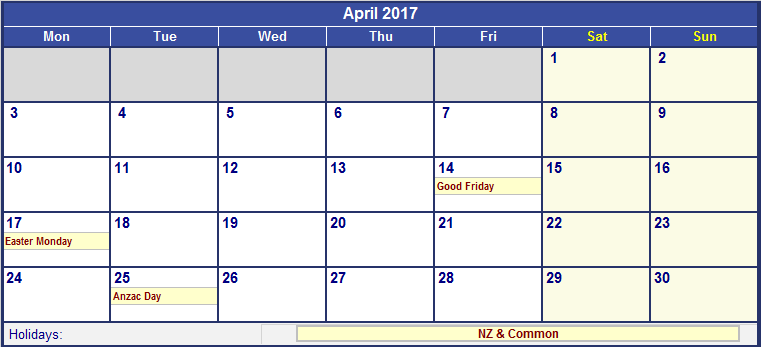 April 2017 Calendar Nz | 2017 calendar with holidays