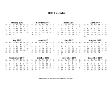2017 Yearly Calendar Printable One Page Template