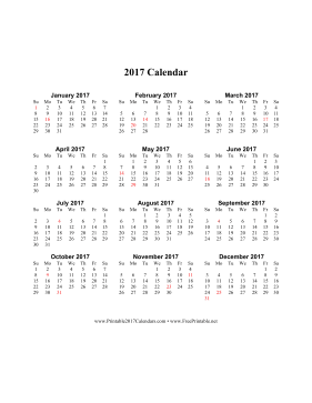 Printable 2017 Calendar on one page (vertical holidays in red)