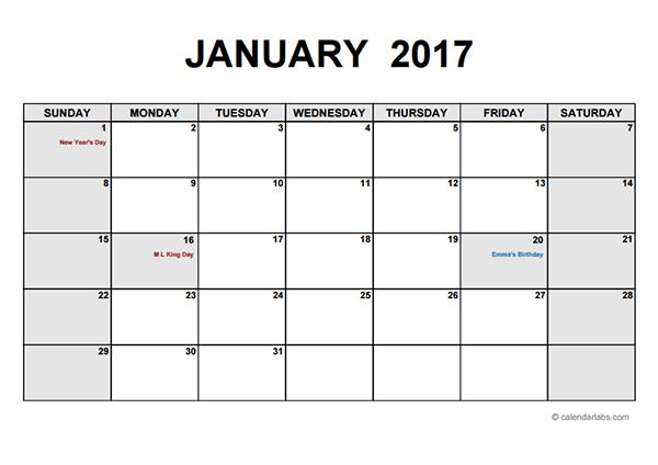 Free 2017 PDF Calendar Templates Download & Print 2017 calendar PDF