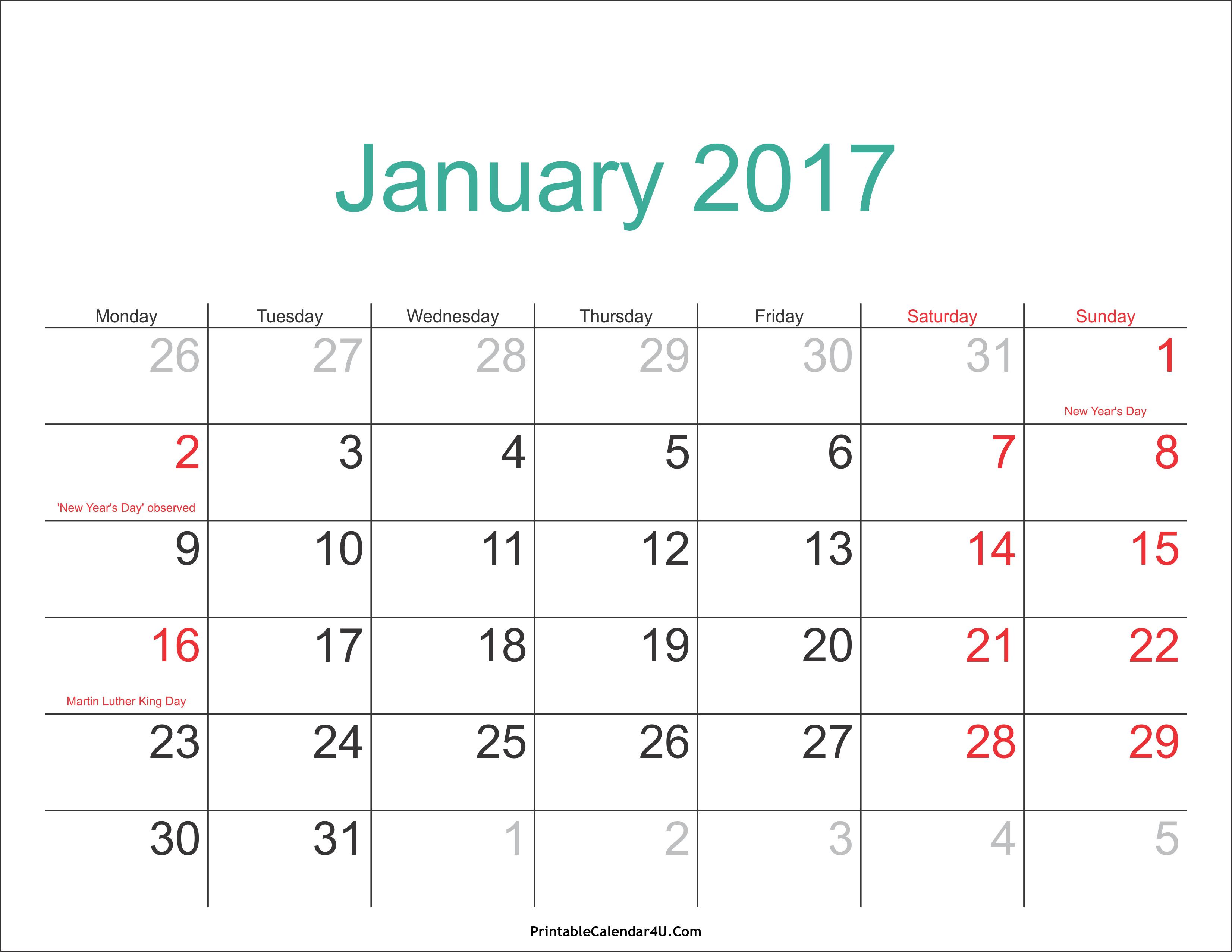 January calendar 2017 in pdf