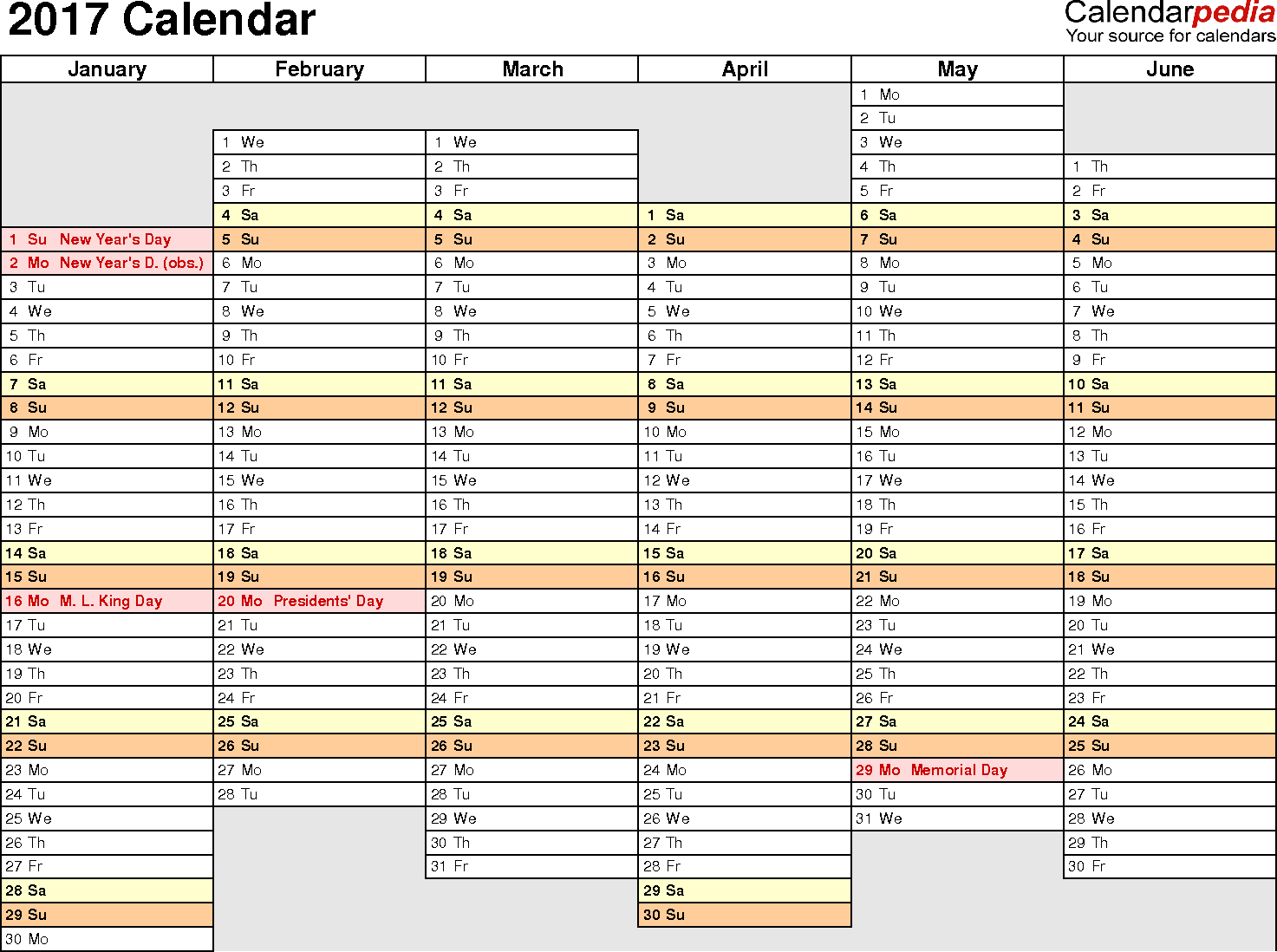 2017 Excel Calendar Template Download FREE Printable Excel Templates