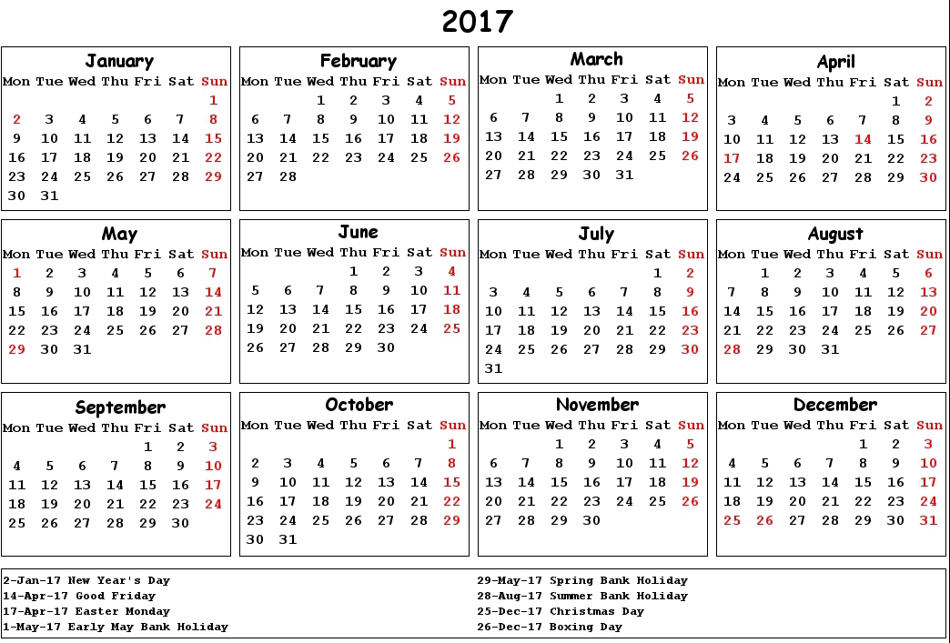 2017 Calendar UK Holidays | Printable Calendar Templates