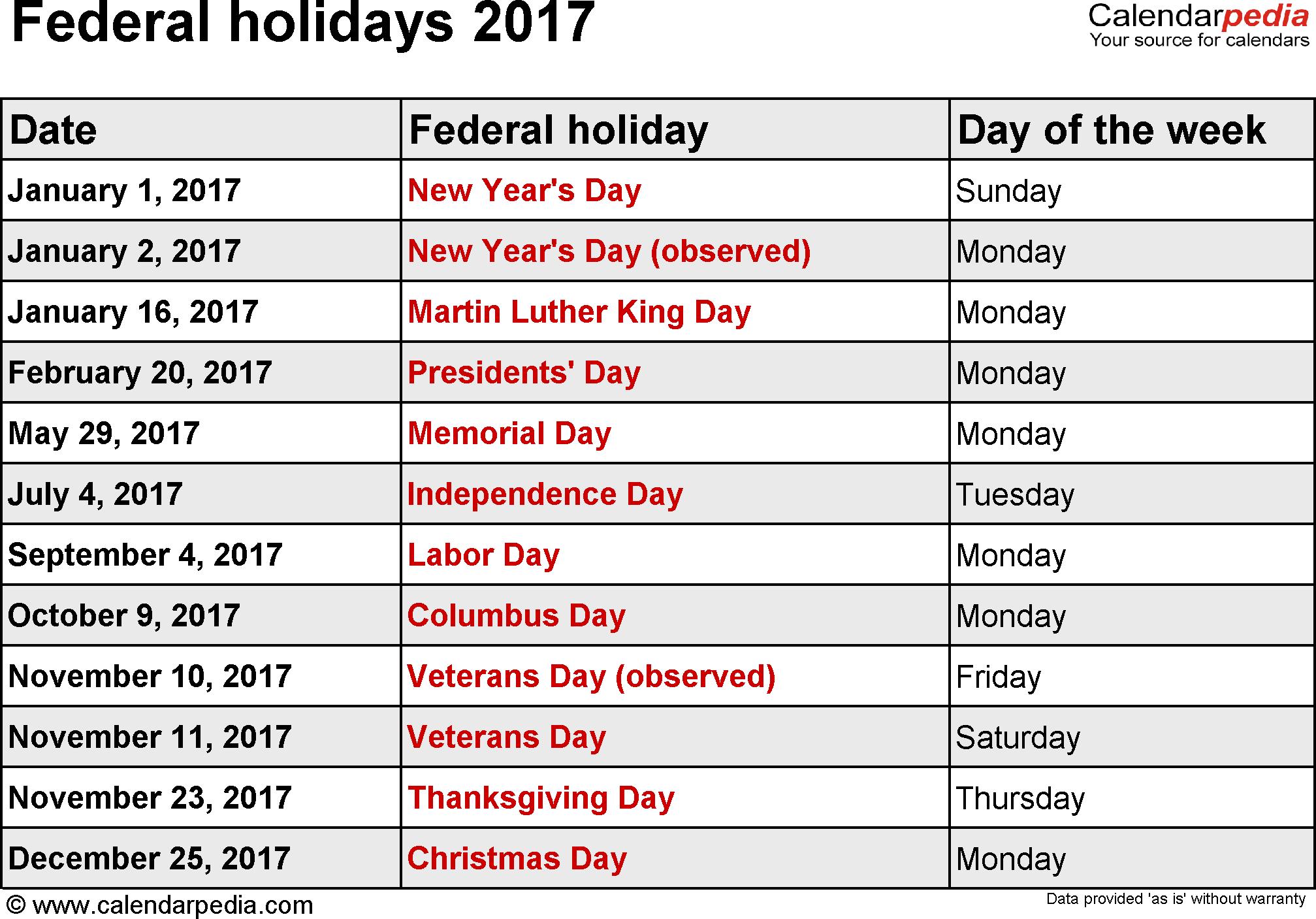 Federal Holidays 2017
