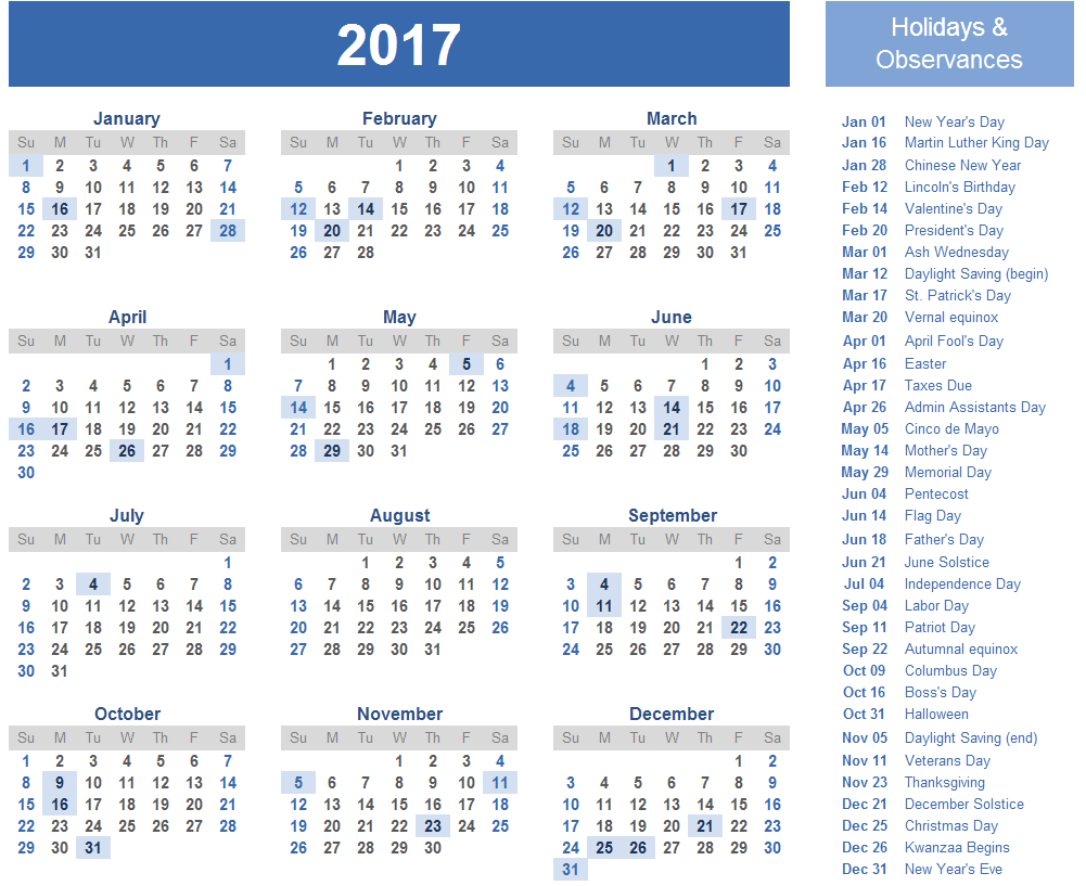 2017 Calendar with Holidays [US, UK, Canada] | Free Printable
