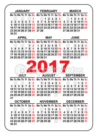 2017 Pocket Calendar Printable | yearly calendar printable