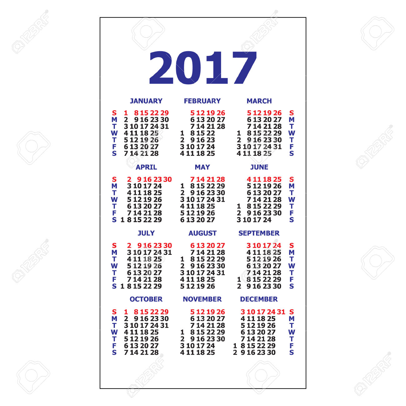 2017 Pocket Calendar. Template Calendar Grid. Vertical Orientation
