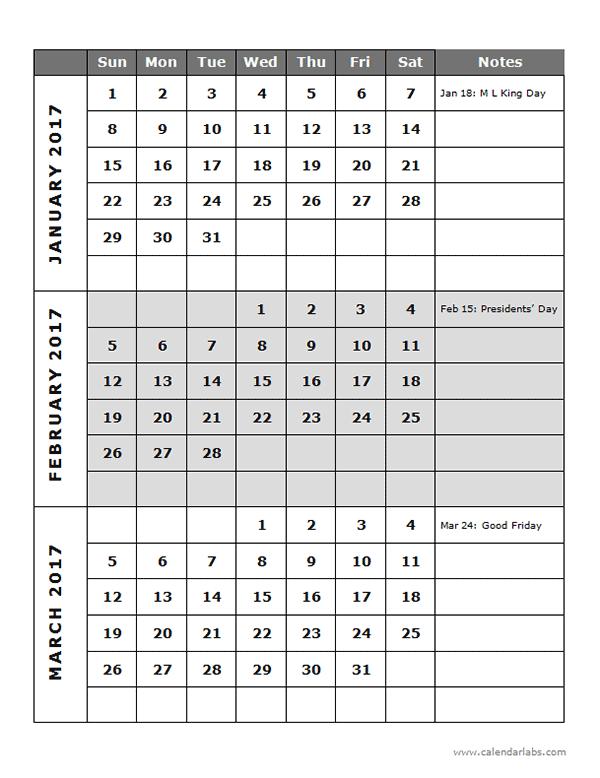2017 Quarterly Calendar Template 14P Free Printable Templates
