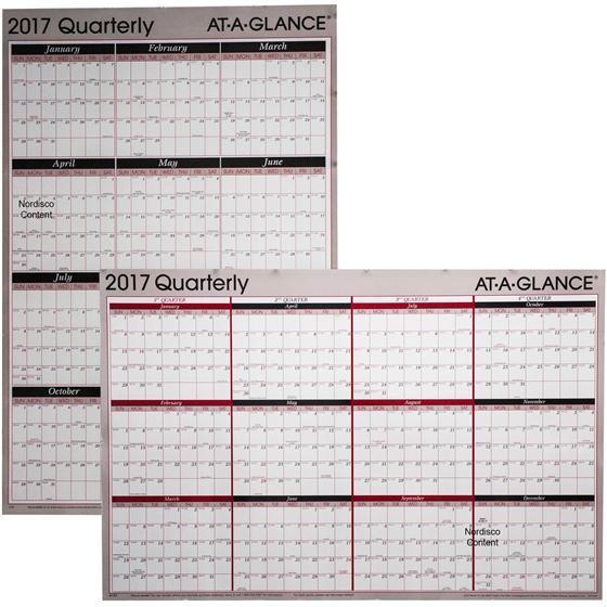 At A Glance A123, 2017 Quarterly Erasable Wall Calendar, 24 x 36