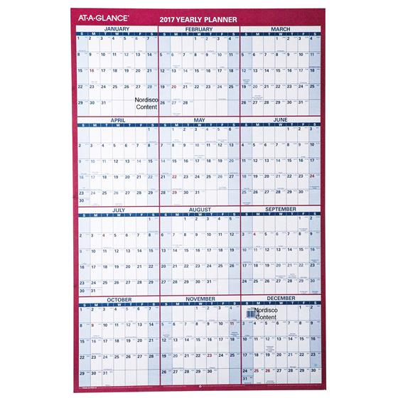 AT A GLANCE 2017 Horizontal Erasable Wall Calendar (PM28_17)