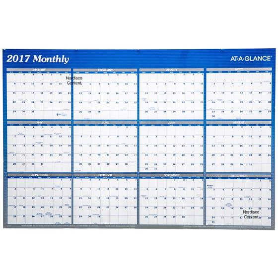 At A Glance A1102 2017 Erasable Wall Calendar, 24 x 36