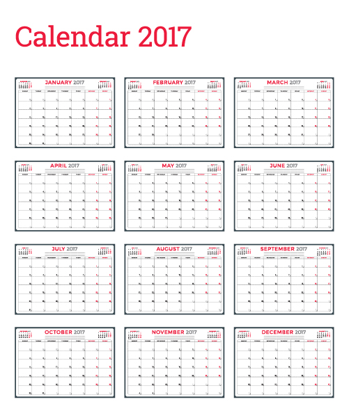 Common 2017 Wall Calendar template vector 07 Vector Calendar