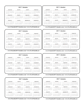 Printable 2017 Wallet Calendar