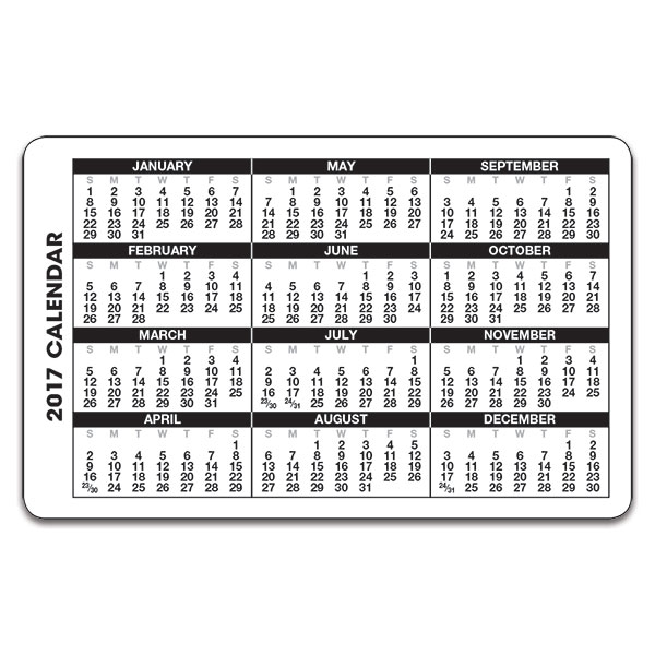 2017 Wallet Calendar | yearly calendar template