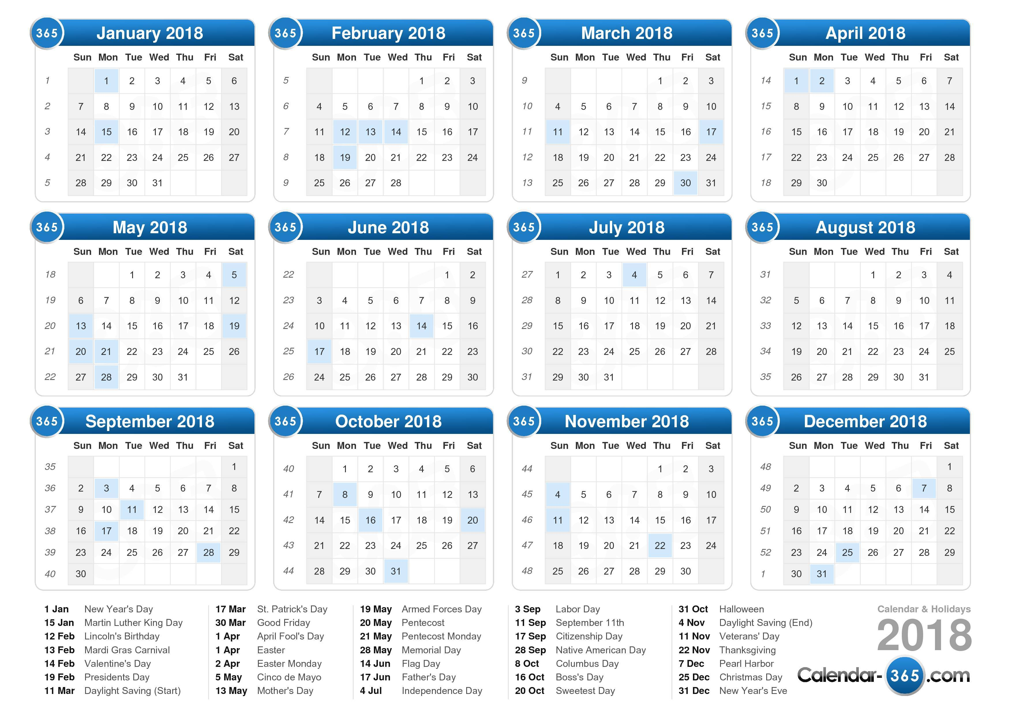 2018 Calendar By Month | 2017 calendar with holidays