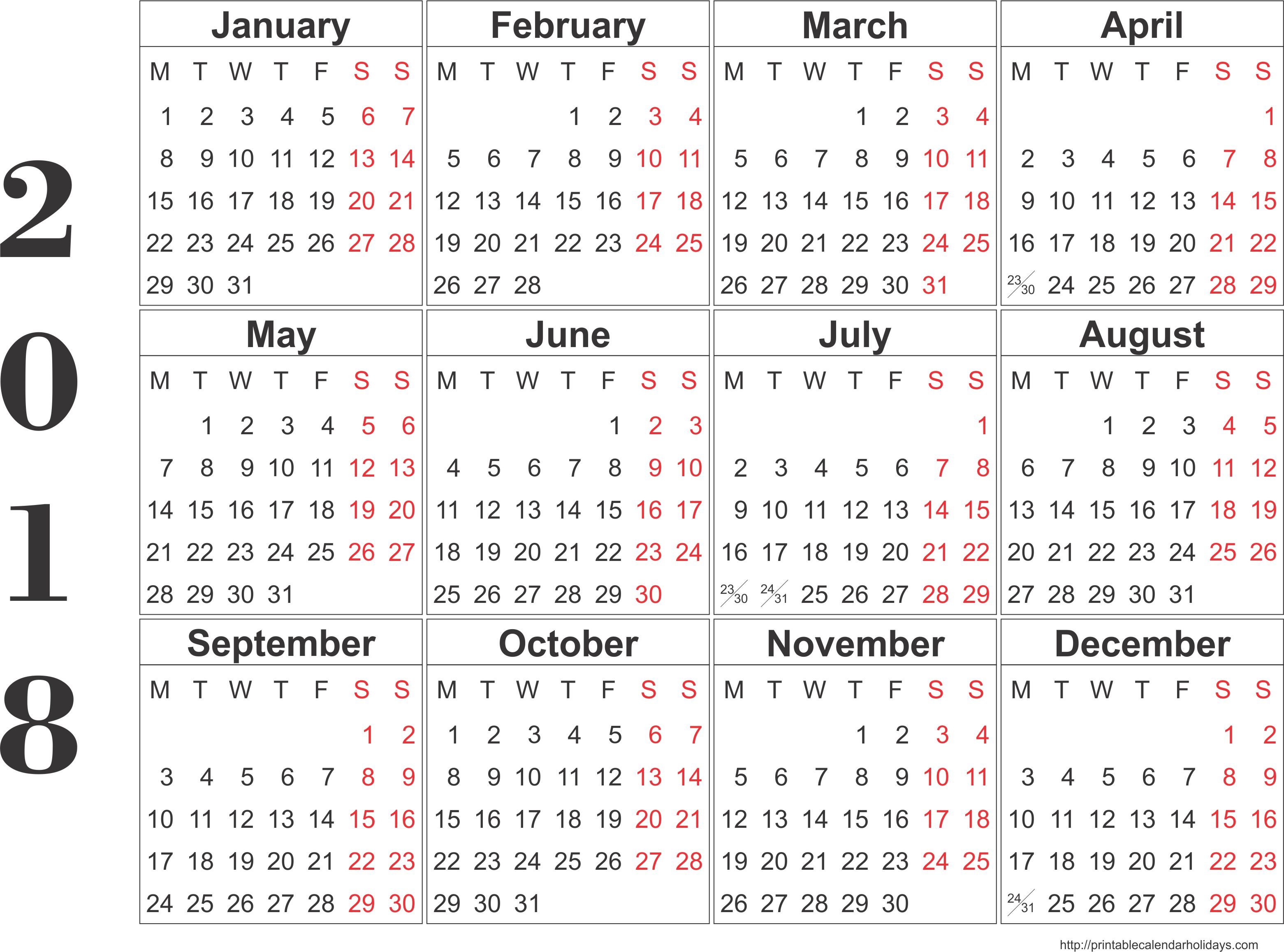 Download 2018 Printable Calendars