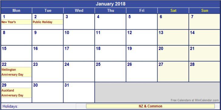 2018 Calendar Nz