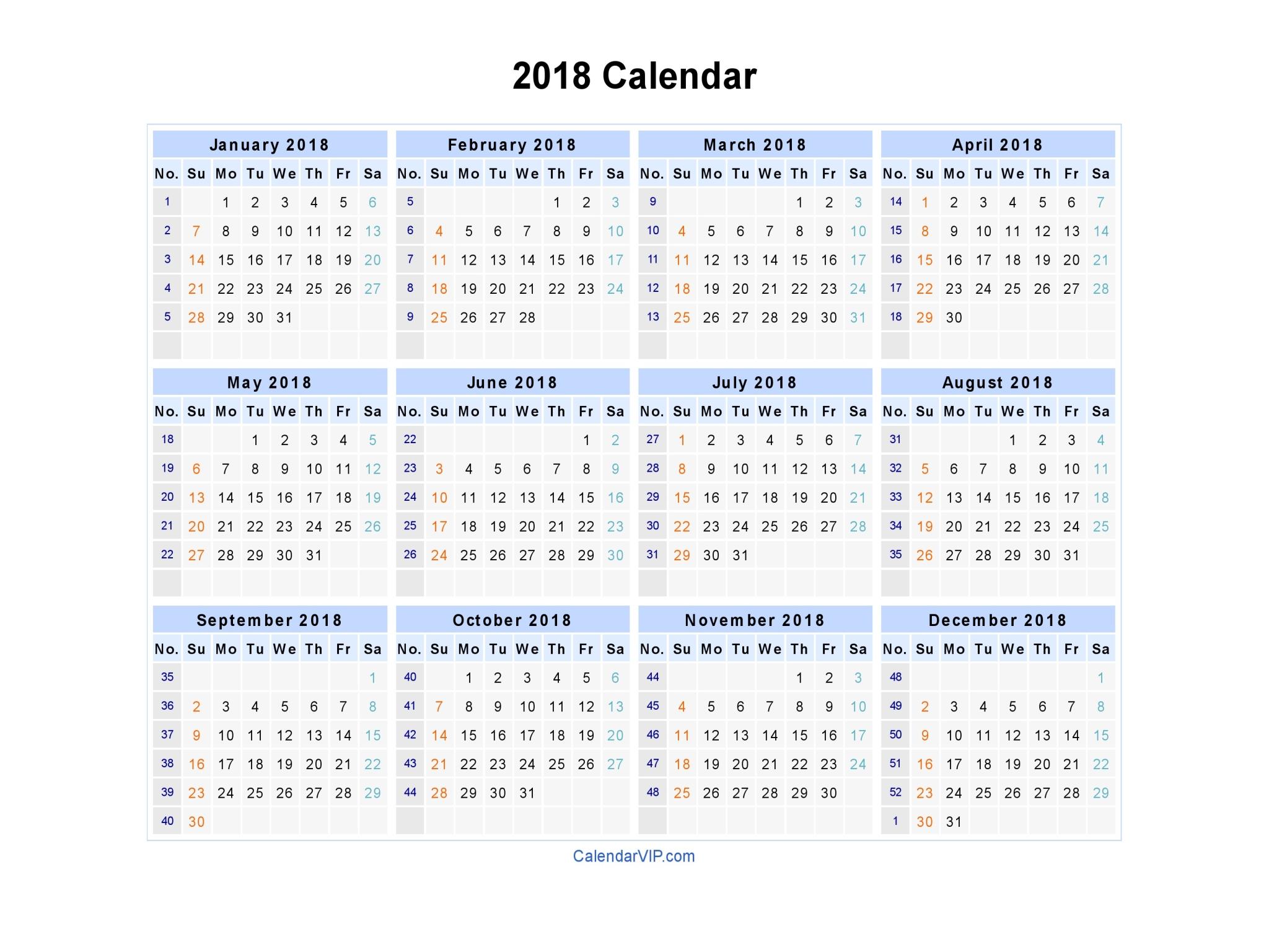 2018 Calendar Blank Printable Calendar Template in PDF Word Excel