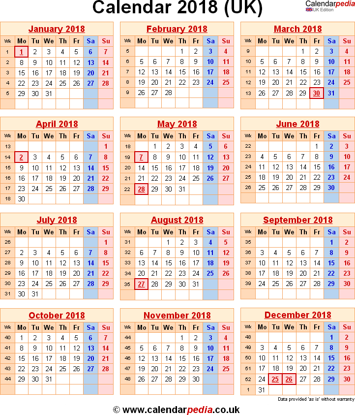 Calendar 2018 UK with bank holidays & Excel/PDF/Word templates