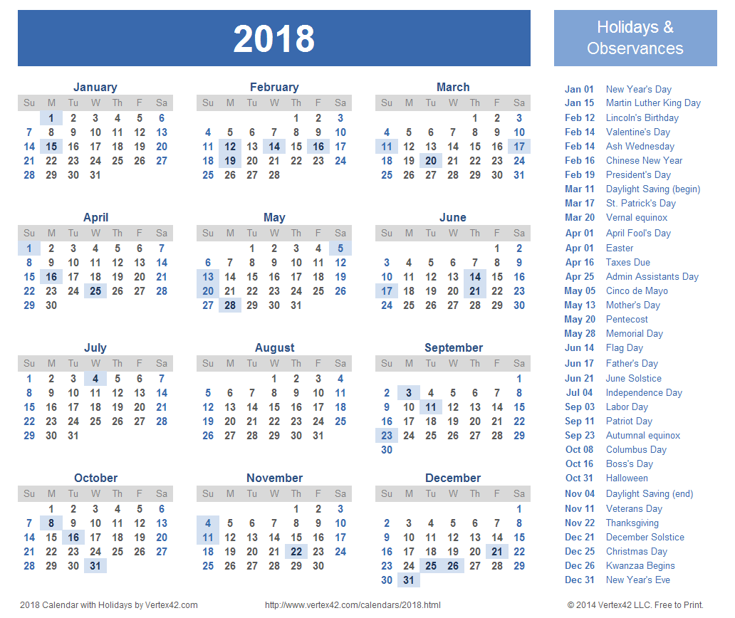 2018 Calendar With Holidays – 2017 printable calendar