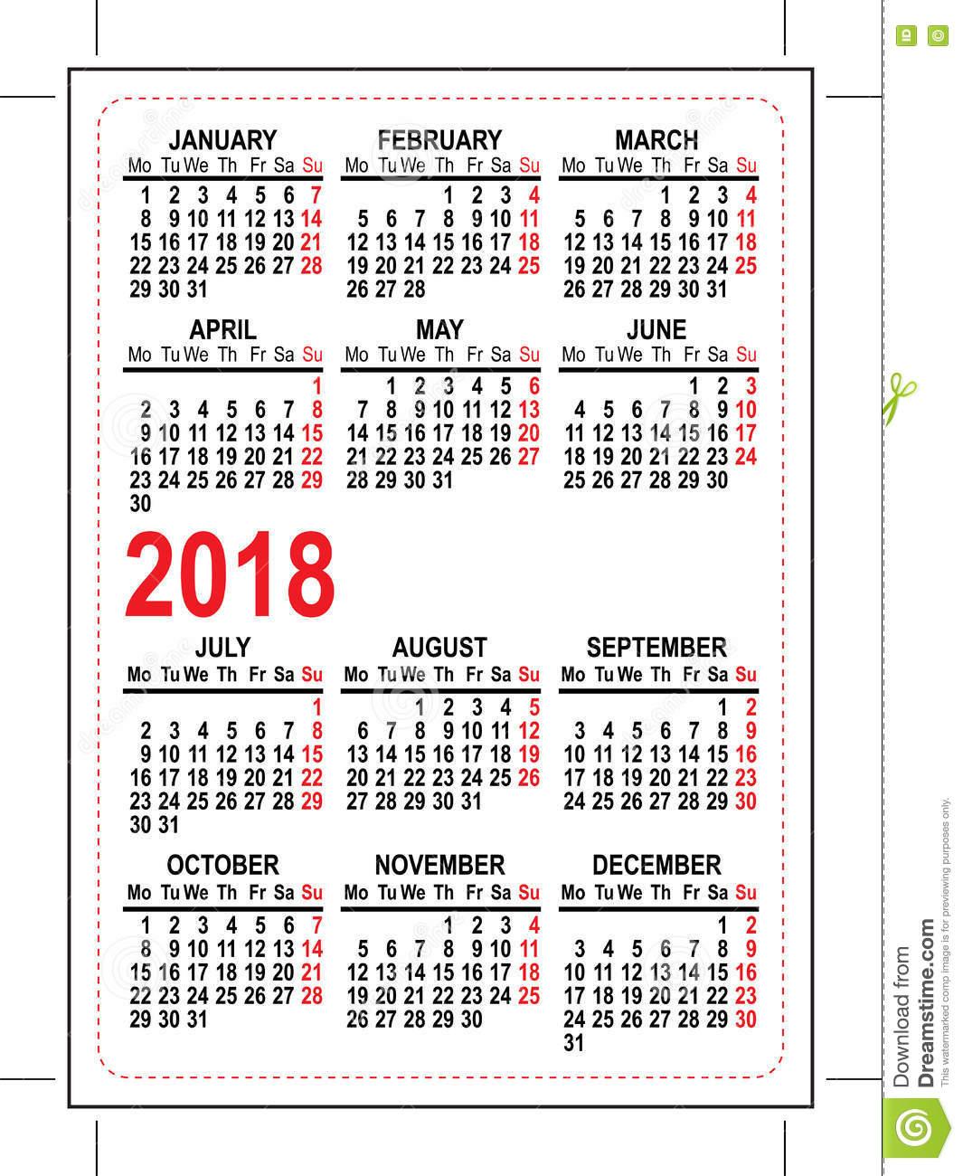 Grid Pocket Calendar 2018 Stock Vector Image: 75145827
