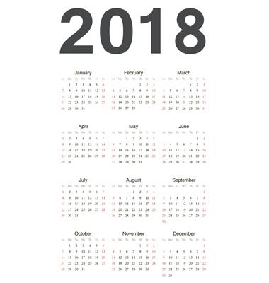 European 2018 year calendar vector by julvil Image #1763854