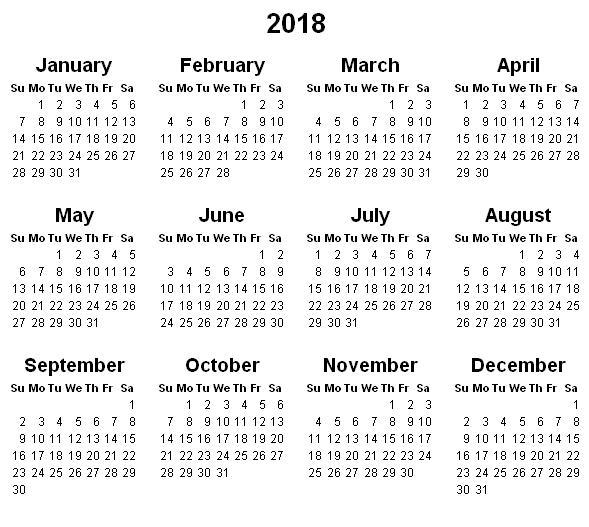 Yearly Calendar 2018 | printable calendar templates