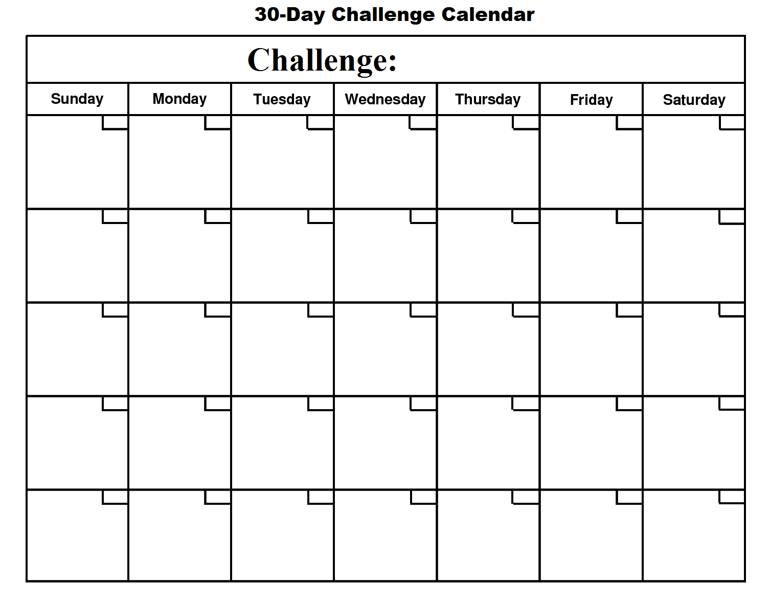 30 day challenge january free monthly calendar template