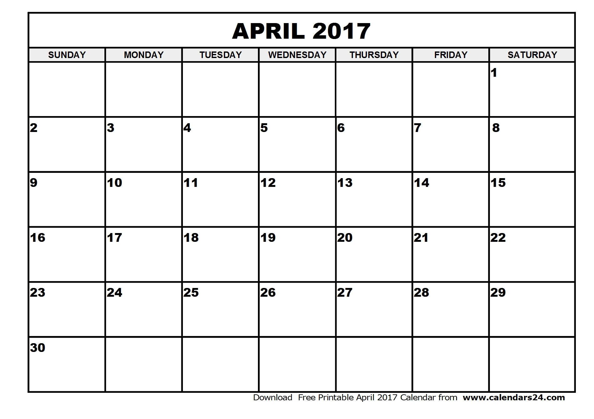 April 2017 Calendar & May 2017 Calendar