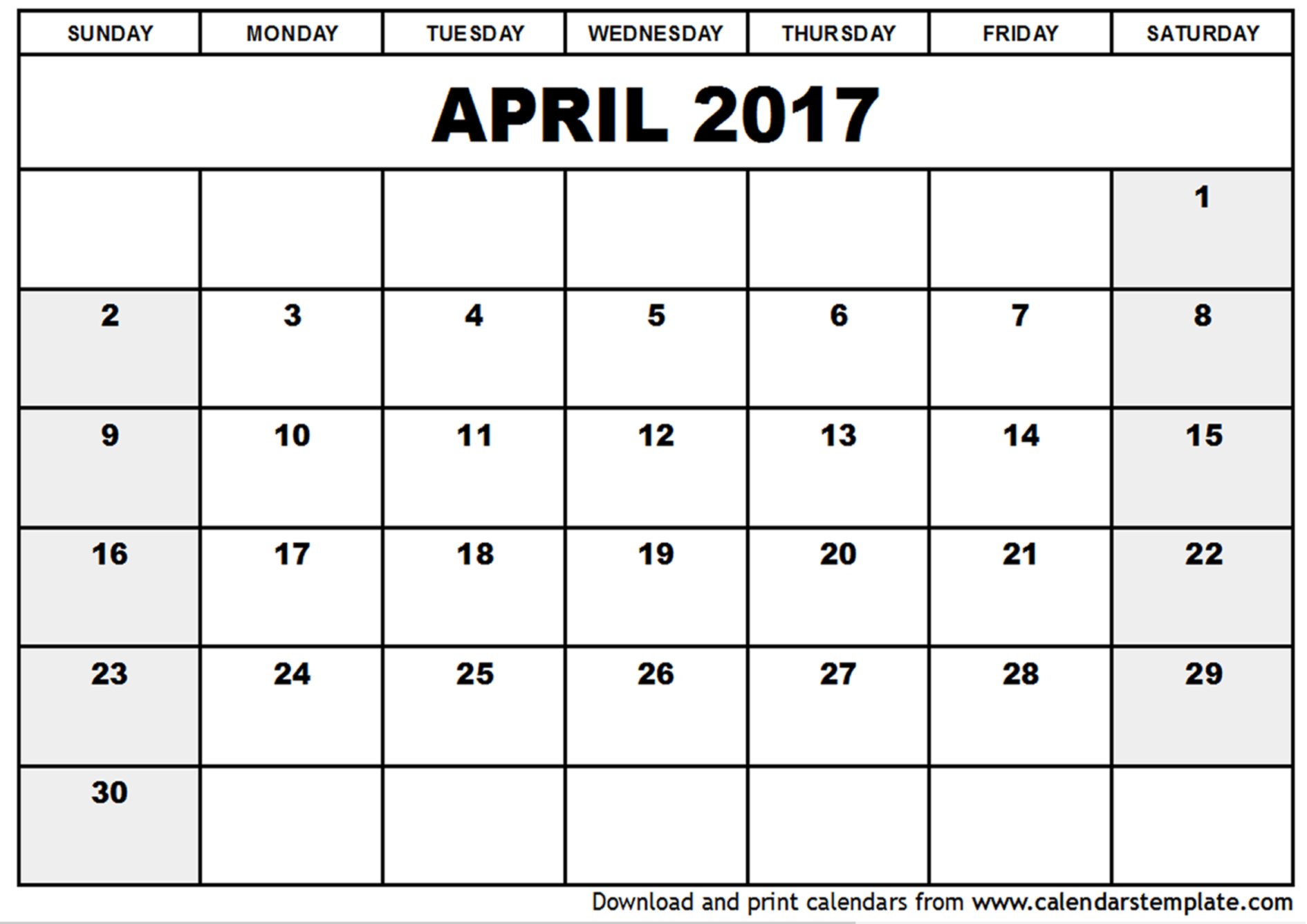 April 2017 Calendar Excel | monthly calendar printable