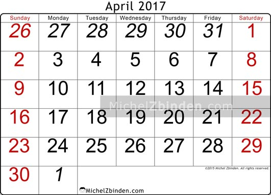 April 2017 Calendar Nz | monthly calendar printable